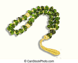 Decorative green crystal chaplet isolated