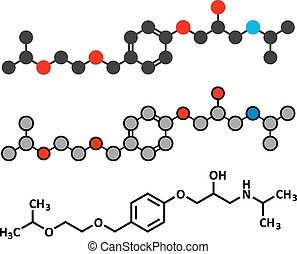 Bisoprolol beta blocker drug molecule Used to treat high...