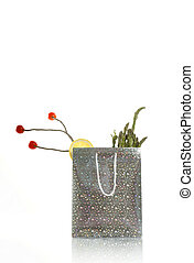 surreal silver shopping food bag on white