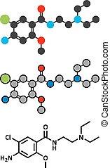 Metoclopramide nausea and vomiting treatment drug molecule....