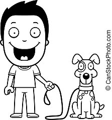 Cartoon Boy Walking Dog