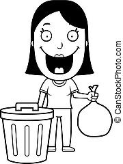 Cartoon Woman Trash - A happy cartoon woman taking out the...