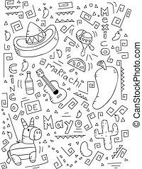 Cinco de Mayo Doodle - A cartoon doodle with a Cinco de Mayo...