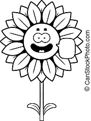 Talking Sunflower - A cartoon illustration of a sunflower...