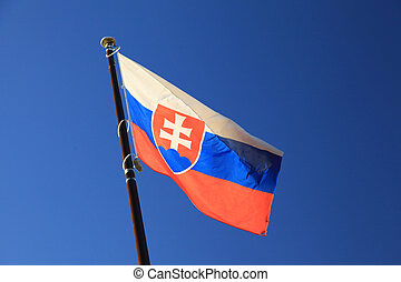 Slovak national flag in wind