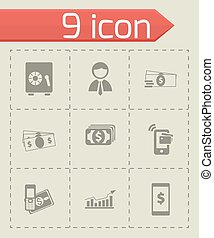Vector mobile banking icons set