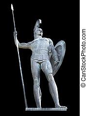 griego, mítico, aquiles, estatua, aislado