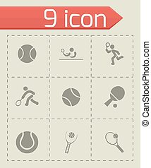 Vector tennis icon set on grey background