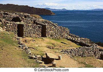 Arqueológico, Titicaca, Sol, chinkana, del, sitio, ISLA,...