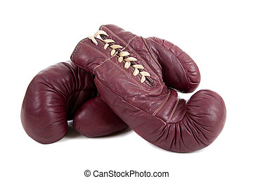 Leather, antique boxing gloves - A pair of vintage, antiqe...