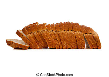 Sliced loaf of wheat bread