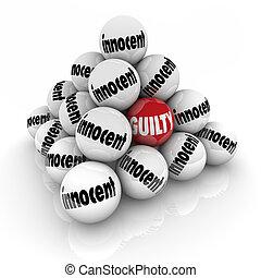 Guilty Vs Innocent Pyramid Balls Decision Verdict Judgment