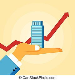 Business Growth - Vector illustration of a hand holding an...