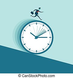 Rushed - Vector illustration of a businessman running...