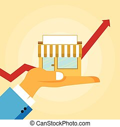 Small Business Growth - Vector illustration of small...