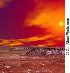 Petrified Forest - Sunset scenic landscape of ancient...