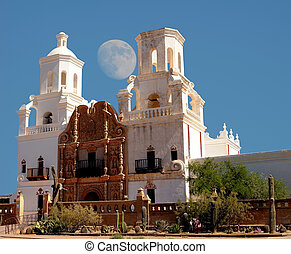 San Xavier Mission Moon - Spanish mission San Xavier moon...