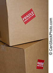 Shipping boxes with Fragile Sticker