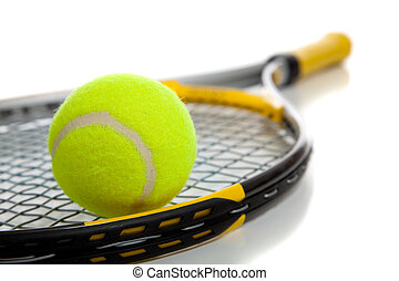 Tennis ball and racket - A colorful tennis ball and racket...