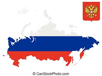 Russian Flag - Flag and crest of the Russian Soviet...