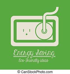 Energy saving design over green background,vector...