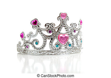 A childs toy princess tiara on a white background with copy...