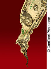 One liquid dollar note falling on red background, financial...
