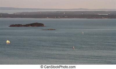 Maine Ocean View Sail Boats