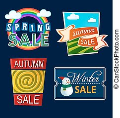 various seasonal sale event tittle - various colorful banner...