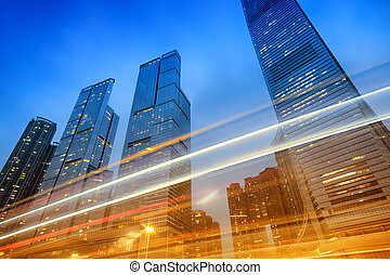 Office Buildings, Hong Kong - Office buildings at night in...