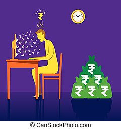 on-line earning rupee or money with online business concept...