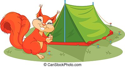 Squirrel sets tent - Illustration of funny squirrel sets...