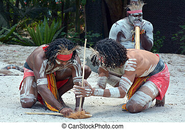 Aboriginal culture show in Queensland Australia - Group of...