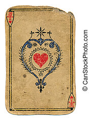 antique playing card ace of hearts isolated on white -...