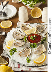 Raw Organic Oysters with Lemon