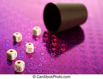 Poker dices over colored background, selective focus