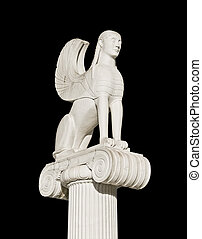Large ancient Greek sphinx statue fixed on an ionic pillar...