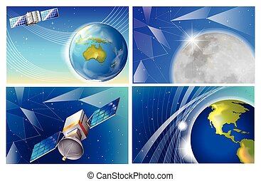 Satellite images on a white background