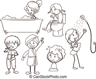 Kids grooming - Plain sketches of kids grooming on a white...