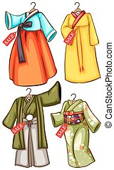 Asian outfits - A sketch of the Asian outfits on a white...