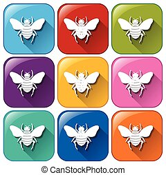Colourful rounded buttons with insects on a white background...