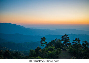 Beautiful sunset nature background Mountains and sky ,huai...