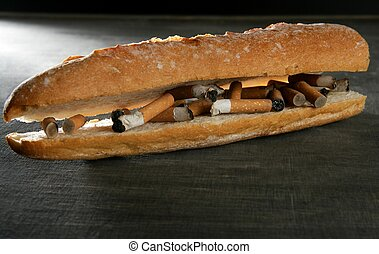 tabaco, pão, sanduíche, menu