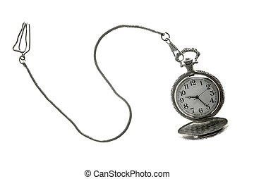 old silver pocket watch clock with chain - Old silver pocket...
