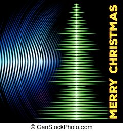Musical christmas tree card with vinyl grooves - Card with...
