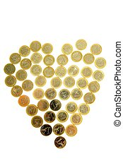 Euro currency coins in heart shape