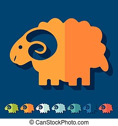 Flat design: sheep