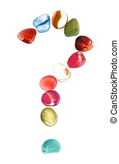 colorful stones with question mark shape - Colorful stones...