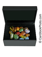 colorful glass stones in a black box - Colorful glass stones...
