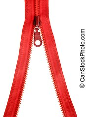 Red clothes zip open over white - Red clothes zip open...